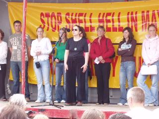 Daughters, sons and wives of the Rossport Five speak at public rally in Belmullet July 2005.