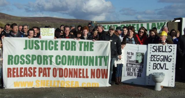 Protest at Ballyglass Pier for Pat O Donnell